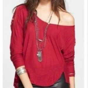 Free People The Gatsby Patchwork Maroon Top S